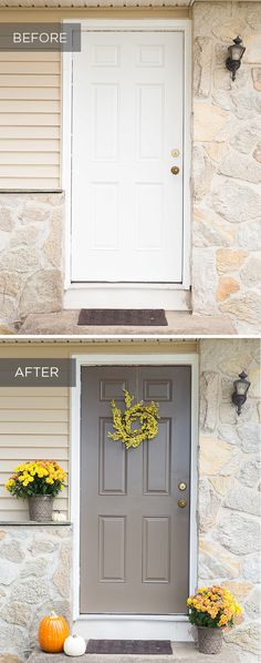All your front door needs is a fresh coat of paint in Opus and yellow accented flowers to give it a curb appeal makeover. Plus, this taupe paint color is perfectly versatile which makes it ideal for transitioning between seasons. From @madetobeamomma
