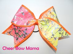 Orange, Pink and Yellow Cheer Bow by Cheer Bow Mama