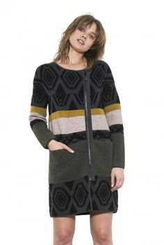 Logan Coat by one grey day- Our Logan coat features a black and grey tribal jacquard contrasted with the colors of the season - strategically place to elongate the body. Black Women Fashion, Womens Fashion, Wool Coat, Logan, Black And Grey, Hoodies, Knitting, Day, Sweaters