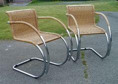 Pair of Vintage Mies van der Rohe MR20 Cane Arm Chairs Bauhaus Design Classic | eBay