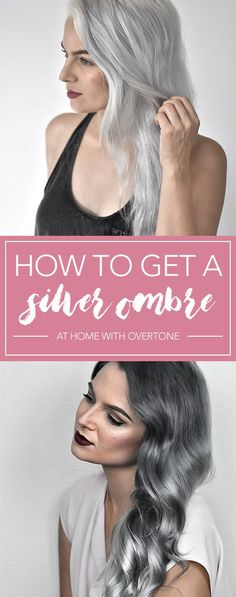 Check out this tutorial to learn how to get that perfect silver ombre hair at home with oVertone! It's a DIY ombre made easy. LOVE this hair color! - All About Hairstyles Silver Ombre Hair, Grey Ombre Hair, Dyed Hair Ombre, Best Ombre Hair, Dyed Hair Purple, Dyed Hair Pastel, Diy Ombre, Ombre Hair At Home, Ombre Hair Tutorial