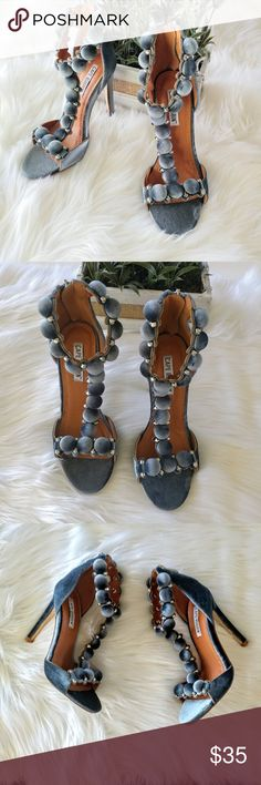 """NEWCape Robbin GrayAlza Wrapped Button Heel Sandal Condition: new, never worn, no box Size: 6.5  Open toe, Button wrapped T-strap detail - Back zip closure - Covered heel - Approx. 4.5"""" heel - Materials: Polyester upper, TPR sole CAPE ROBBIN  Shoes Heels"""