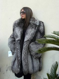 Hooded fox fur coat dyed mint-green | Furs I would love to have #1 ...