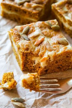 Pumpkin Cream Cheese Swirl Bars. @FoodBlogs
