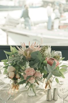 No matter the style of wedding that requires setting up, it is going to probably need flowers. A smaller informal wedding or a huge extravagant occasion will certainly both need their share of flowers. Flower Centerpieces, Flower Decorations, Wedding Centerpieces, Wedding Decorations, Round Table Centerpieces, Round Tables, Stage Decorations, Centrepieces, Protea Wedding