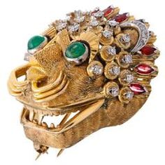 Inspired Mythical Gemstones Gold Lion Brooch