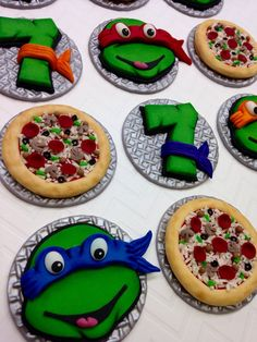 12 Fondant Turtle Cupcake Toppers Turtle by CherryBayCakes on Etsy