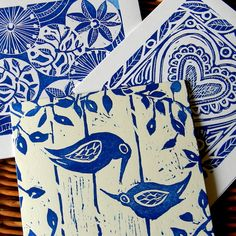 lino print cards (my designs, of course)