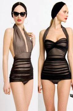 Black vintage inspired Norma Kamali swim