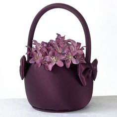 Plum Satin Flower Girl Basket (Lillian Rose FB680) from Wedding Favors Unlimited.