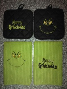The Grinch Santa & Merry Grinchmas by DesignsbySugarbear on Etsy, $39.99 Custom Embroidered Towel Set - Eye Candy for Your Kitchen - Great Gift Idea for the Grinch Fans!