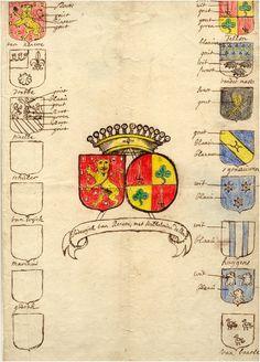 Allliantiewapen van Lodewijck van Renesse en Wilhelmina Dellon, rechts de wapens van de voorfamilie van Wilhelmina, links de wapens van de voorfamilie van Lodewijck - 1640-1690