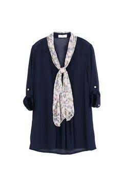 #Blue Chiffon Blouse with Floral Scarf, iAnyWear  chiffon blouse#2dayslook #new #chiffonfashion  www.2dayslook.com
