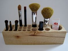 Natural Rustic Mahogany Wood Desk Organizer Office Organizer Pencil Small Tool Caddy Holder or Makeup Organizer - Gelato. $40,00, via Etsy.