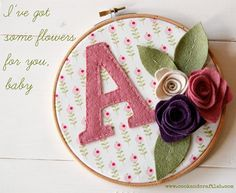 "The tutorial is not in English, but photos are great for felt flowers! Replace that monogram with the phrase ""You look fairy nice!"""