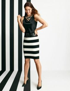 I wish this would be warn both at work and later, but it seems slightly too tight for work attire. Style Work, My Style, Moda Fashion, Womens Fashion, Fashion Trends, Dress Skirt, Dress Up, Shirt Skirt, Black White Fashion