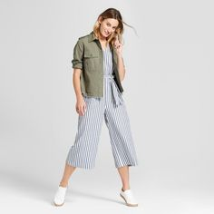 e3607e0308ac Women s Cropped Stripe Jumpsuit - Universal Thread™ Navy Stripe