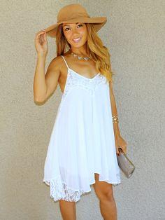 Lacey Daisy Babydoll Dress (White)