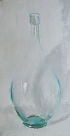 "Painting of glass... transparency in oils.  ""Simplicity"" impressionistic painting by artist Gina Brown"