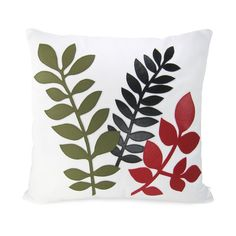 Woodland print modern pillow cover - Green, black and red tree leaves applique on white fabric - 16 x 16 inches