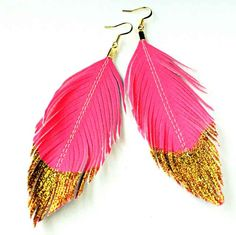 Neon Pink Gold Glitter Dipped - Faux Leather Feather Earrings