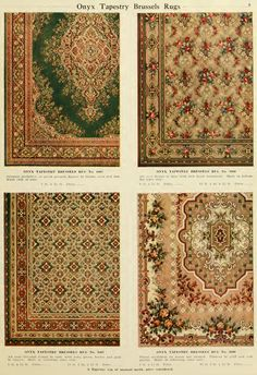 Examples of Onyx Tapestry Brussels Rugs from H.A. Herz  catalog, early 1900s.