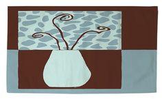 Minimalist Flowers 3 Blue/Brown Area Rug