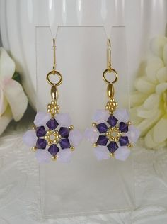 Woven Dangle Earrings Swarovski Crystal in Purple and Violet