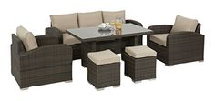 Maze Rattan LA Sofa Dining Set in a Weave - Mixed Brown