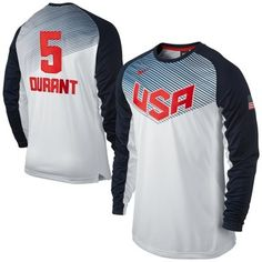 4b4c61105cf0 Kevin Durant Team USA Basketball Nike Shooting Shirt - White Navy Blue