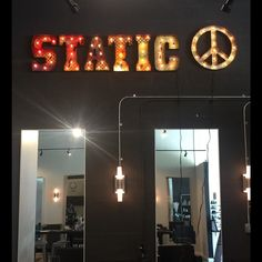 A piece we did for the @staticsalon. This piece is so cool in person! #marqueesign #nashville #metalfab #vintagestyle #fabricationmonkey #salon #peace #static by tlnfunctionalart