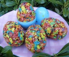 Egg-ceptional Cereal Treats -   A colorful and seasonal twist on the marshmallow crispy treats our kids love!  Tags: Easter Treat | Easter Dessert