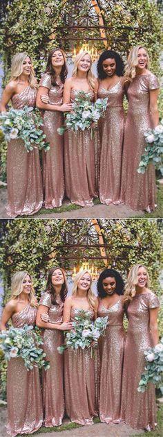 A-Line Floor-Length Sequin Bridesmaid Dresses,Sparkly Mismatched Bridesmaid A-Line bodenlangen Pailletten Brautjungfernkleider, Sparkly Mismatched Brautjungfernkleider, Mismatched Bridesmaid Dresses, Long Wedding Dresses, Wedding Bridesmaid Dresses, Cheap Wedding Dress, Bridesmaid Ideas, Lace Wedding Dress With Sleeves, Perfect Wedding Dress, Lace Sleeves, Dresser