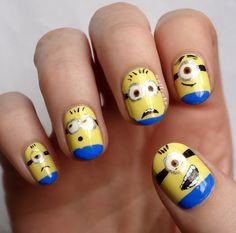 I soooo need to do this to my nails. I simply love minions! BWAHAHAHA must have a minion Smith Simple Nail Art Designs, Best Nail Art Designs, Easy Nail Art, Cool Nail Art, Funky Nails, Love Nails, Pretty Nails, My Nails, Minions