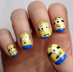I soooo need to do this to my nails. I simply love minions! BWAHAHAHA must have a minion