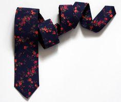 "Navy Blue and Coral Neck Tie - Floral Tie - Dark Blue and Red Liberty Tie - Navy Coral Floral Ties - Wedding - Groomsmen - 3"" / 2,25"" Wide  by VIVIDClothingToronto"