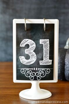 Chalkboard Numbers Printable {numbers 1-31}  these are perfect for countdowns, calendars, and as wedding table numbers!