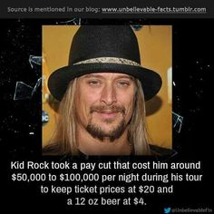 Kid Rock made good on his vow to donate to five organizations in his hometown of Detroit. The musician born Robert Ritchie announced during the Detroit . Kid Rock Picture, Best Night Ever, Unbelievable Facts, Music Theater, 3 Kids, Today Show, Eminem, Kim Kardashian, Detroit