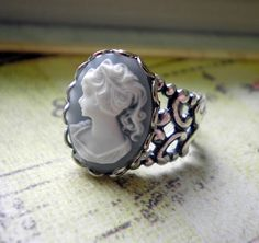 Blue Cameo Ring in Victorian Lady Style