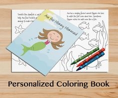 Personalized Mermaid Coloring Book. A Custom by Frecklebox on Etsy