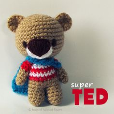 Super TED - Teddy bear free amigurumi pattern by Tales of Twisted Fibers