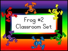 Classroom Set- FROGS THEME #2- Basic Colors - This set includes the following: -Desk name tags (both regular and primary) -Charts (1 to 100, addition, and multiplication- 2 sizes) -Number lines (0 to 20, 0 to 40 skip counting by 2 and -10 to 10) -Calendar numbers (differences for odd numbers, even numbers, multiple of 3 and multiple of 5) -2 ABC sets -Assortment of tags, labels, pencil toppers, charts, posters, hall passes, directions and more.