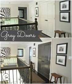 Painted Dark Grey Doors.  White doors before, now dark grey.  Really makes a difference in the wall color too!  The whole hall looks more sophisticated.