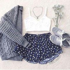 Patterned navy shorts and Cardigan - Date Attire / Outfit - School Appropriate Outfit #favorite_pin