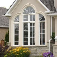 Picture window with exterior casing detail adds a feature focal point to your home New Home Windows, House Windows, Bay Window Exterior, Fiberglass Windows, Home Design Decor, House Design, Exterior Remodel, Home Upgrades, Curb Appeal