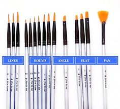 10Pcs Nylon Hair Artist Paint Brush Acrylic Watercolor Round Fine Hand Point RR