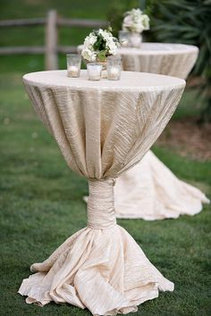 Crushed Taffeta Tablecloth white ivory gold wedding decor bridal cake table ceremony tablecloth sweetheart table candy table by FantasyFabricDesigns on Etsy Cocktail Table Decor, Cocktail Tables, Wedding Cocktail Hour, Wedding Centerpieces, Wedding Decorations, Centerpiece Flowers, Candle Centerpieces, Centerpiece Ideas, Dream Wedding