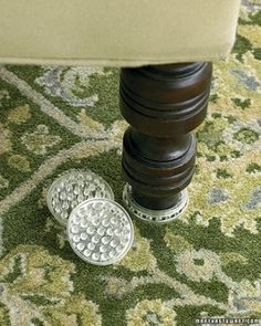 Protect the Floor - To protect carpet from dents, support heavy furniture on plastic or rubber floor protectors that are at least an inch in diameter. The heavier the piece of furniture, the larger the floor protector should be.