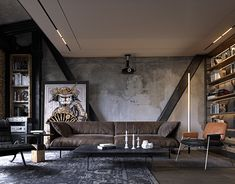 Small appartment for couple with mix of concrete loft and warm natural materials. Loft Industrial, Industrial Interior Design, Decor Interior Design, Interior Ideas, Rustic Apartment, Industrial Apartment, Apartment Design, Apartment Interior, Design Studio
