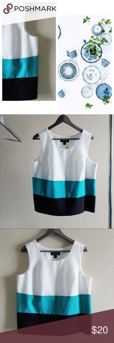 Woman's Sleeveless Top Block Colors Woman's Top   📘 Sleeveless blouse with block colors : white teal and black | NWT | by Perceptions New York | universal shirt : great for work or a casual outing | concealed zip up side for easy putting on   📘 Size: 14 | L: 23.5 | Bust: 38-40 Tops Blouses